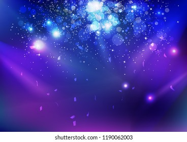 Celebration, event, stars dust and confetti falling, blue night explosion glowing light on stage concept abstract background vector illustration