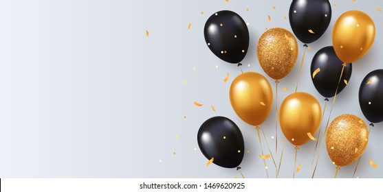 Celebration, festival white background with helium balloons. Greeting banner or poster with gold and black realistic 3d vector flying balloons. Celebrate a birthday poster. Happy anniversary card.