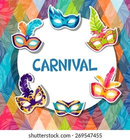 Celebration festive background with carnival masks stickers.