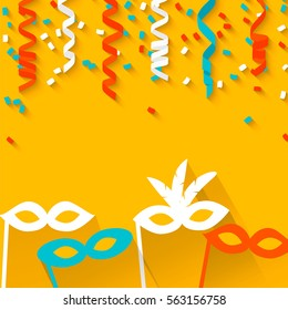 Celebration festive background with confetti, hanging pennants and carnival masks