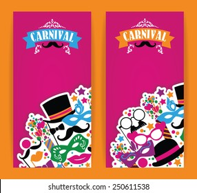 Celebration festive flyer with carnival icons and objects. Vector illustration