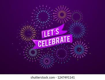 Celebration firework poster template greeting card, invitation, exploding firecracker illustration background