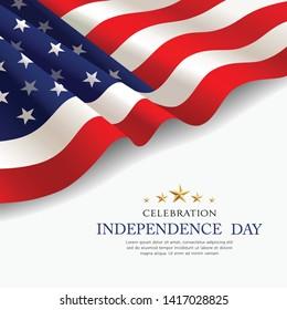 Celebration flag of america independence day poster design vector background, illustration\n