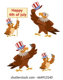 Celebration of the fourth of July. An American eagle and a sparrow in the patriotic hats making selfie Cartoon styled vector illustration. Elements is grouped. Isolated on white.