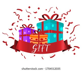 Celebration gift with ribbons, used for, celebration moment. Vector illustration.
