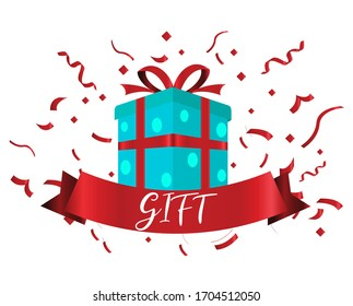 Celebration gift with ribbons, used for, celebration moment. Vector illustration.