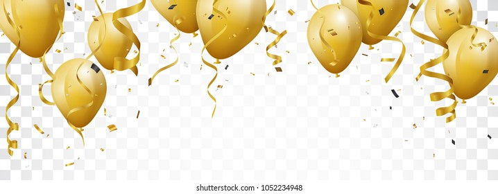 Celebration with Gold Balloon and confetti