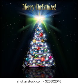 Celebration greeting with Christmas tree and stars on black background