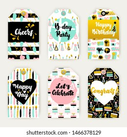 Celebration Greeting Gift Labels. Vector Illustration of Birthday Card Design with Lettering.