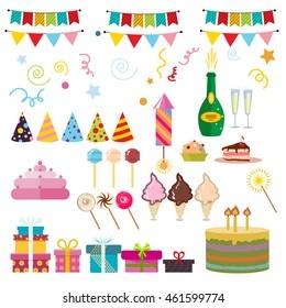 Celebration happy birthday party symbols carnival festive vector set. Colorful happy birthday party symbols hat, gifts, balloon. Happy birthday party symbols event funny decoration collection.