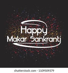 Celebration happy Makar Sankranti vector illustration indian greeting background typography. Festival poster banner creative design. Ceremony ethnic traditional art text.
