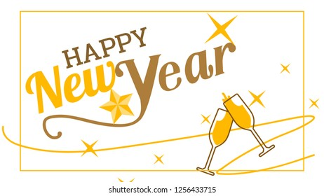 Celebration for Happy new year in newyear 2019 with ribbon and star is can made it for new year card or for banner is vector icon it's long version