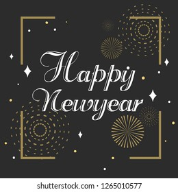 Celebration for Happy new year in newyear 2019 is can made it for new year card or for banner is vector icon