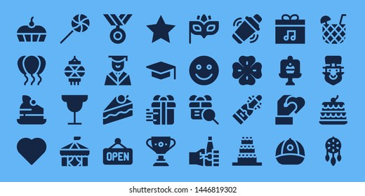 celebration icon set. 32 filled celebration icons. on blue background style Simple modern icons about  - Cake, Balloons, Heart, Lollipop, Lantern, Cocktail, Circus, Medal, Graduation