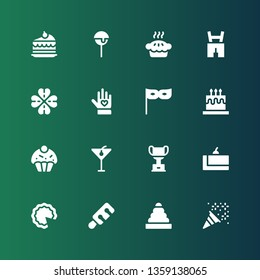 celebration icon set. Collection of 16 filled celebration icons included Confetti, Rings, Wine, Cake, Trophy, Cocktail, Cupcake, Party, Voluntary, Clover, Lederhosen, Pie, Cake pop