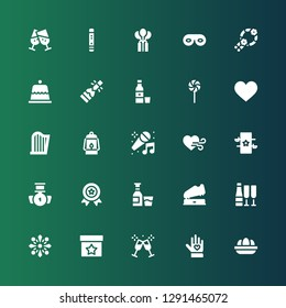 celebration icon set. Collection of 25 filled celebration icons included Eggs, Voluntary, Toast, Magic, Fireworks, Champagne, Trophy, Alcohol, Medal, Heart, Karaoke, Lantern, Harp