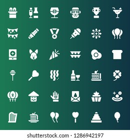 celebration icon set. Collection of 36 filled celebration icons included Balloon, Rings, Lollipop, Cake, Harp, Clown, Cupcake, Birthday card, Voluntary, Chinese, Balloons, Clover