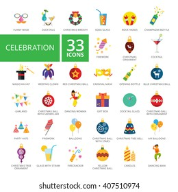 celebration Icon set. Vector flat design. Icon for presentation, training, marketing, design, web. Can be used for creative template, logo, sign, craft. Isolated on white background.