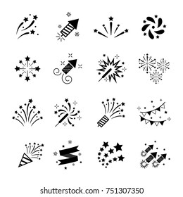 Celebration iconic. Firework icon set with petard, stars. Festival and event, celebrate and party. Vector illustrator