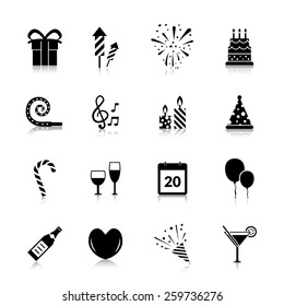 Celebration icons black set with gift box fireworks cake isolated vector illustration