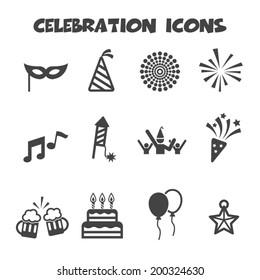 celebration icons, mono vector symbols