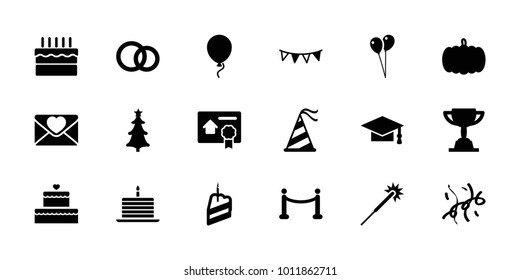 Celebration icons. set of 18 editable filled celebration icons: pumpkin, sparklers, balloon, graduation cap, love letter, party hat, party flag, cake, christmas tree