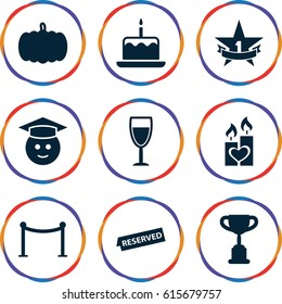 Celebration icons set. set of 9 celebration filled icons such as pumpkin, cake with one candle, Red carpet barrier, graduate emoji, candle heart, reserved, wine glass
