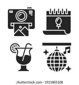 Celebration Icons Set = camera polaroid, calendar, cocktail, disco ball. Perfect for website mobile app, app icons, presentation, illustration and any other projects.
