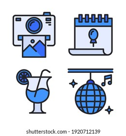 Celebration Icons Set (Filled Line) = camera polaroid, calendar, cocktail, disco ball. Perfect for website mobile app, app icons, presentation, illustration and any other projects.