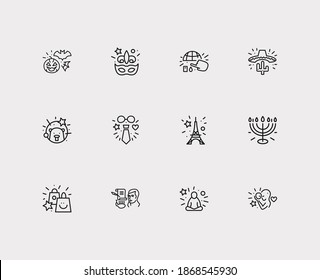 Celebration icons set. Mardi gras and celebration icons with halloween, fathers day and groundhog day. Set of natural for web app logo UI design.