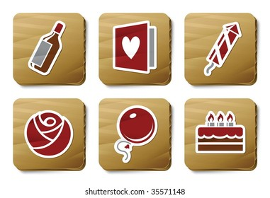 Celebration icons. Vector icon set. Three color icons on cardboard tags.