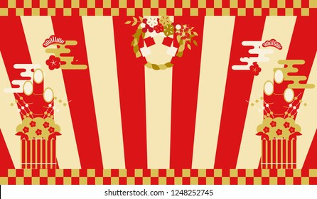 "celebration images of shimekazari and kadomatsu, red and gold vertical striped background ""three color version""."