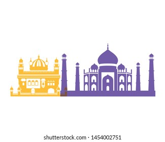 celebration of independence day and tourist buildings of india