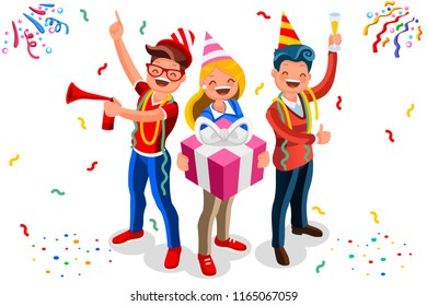 Celebration, job event for adult. Gift and indoor characters, concept of birthday. Male invitation, social theme for man. Surprise by office colleague team. Flat isometric vector illustration.