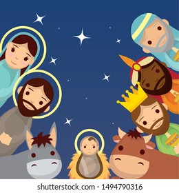 celebration merry christmas manger cute joseph mary baby animals and magicians kings vector illustration