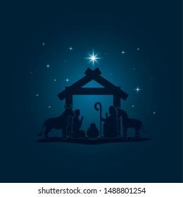 celebration merry christmas manger night silhouette vector illustration