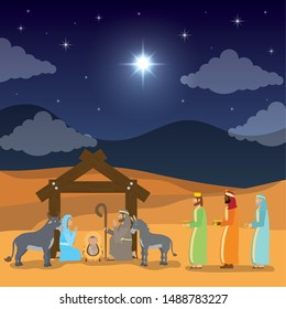 celebration merry christmas manger sacred family and magicians kings vector illustration