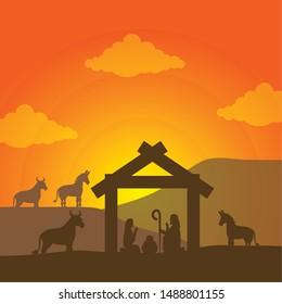 celebration merry christmas manger sacred family in the desert with animals vector illustration