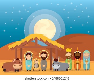 celebration merry christmas manger stable family magicians kings and animals vector illustration