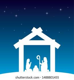 celebration merry christmas manger white silhouette sacred family vector illustration