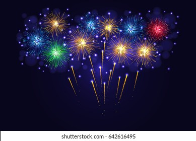 Celebration multicolored sparkling vector fireworks. 4th of July Independence Day, New Year holidays background.