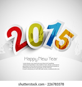 Celebration for new year 2015 colorful background with stylish text vector