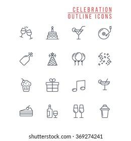 Celebration Outline Icons