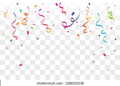 Celebration And Party Background With Colorful Confetti And Ribbon. Vector Illustration