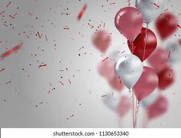 celebration and party background with colorful flying balloons,confetti glitters for event and holiday poster.Vector illustration.