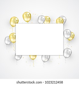 Celebration & Party Background With Gold Silver Confetti and Balloons. Congratulations And New Year 2019. Vector Illustration