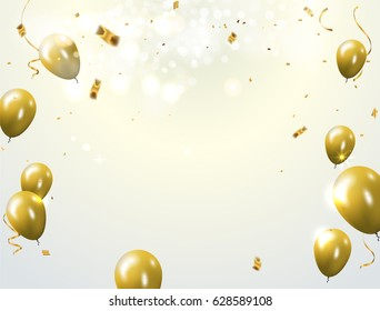 Celebration party banner with Gold balloons confetti background. Vector illustration.