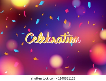 Celebration party blurry colorful abstract background decoration confetti falling, greeting card festival concept vector illustration