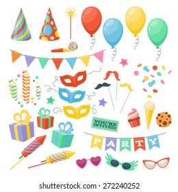 Celebration party carnival festive icons set. Colorful symbols - hat, mask, gifts, balloon.