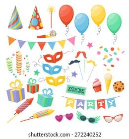 Celebration party carnival festive icons set. Colorful symbols - hat, mask, gifts, balloon.